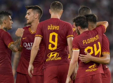 Roma celebrate against Real Madrid.