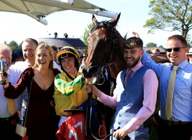 Jockey Colin Keane (Second left) and connections celebrate after winning the Ebor with Mustajeer.