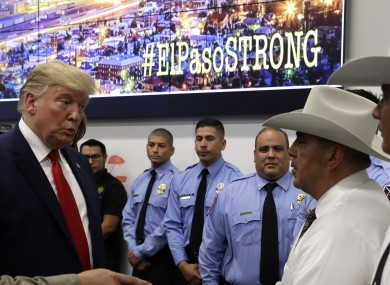 US President Donald Trump speaks to first responders in El Paso yesterday.