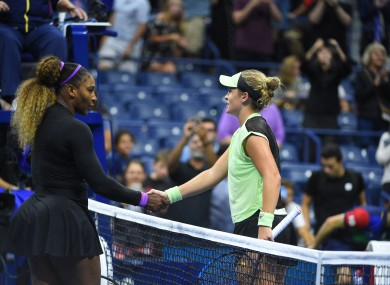 Serena Williams and Cathy McNally after their second round game.