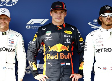 Verstappen topped Bottas and Hamilton to claim pole in Hungary.