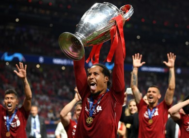 Virgil van Dijk celebrates Liverpool's Champions League triumph