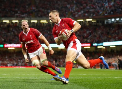 George North scores against England in Cardiff.