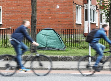 A tent beside a road in Dublin city centre