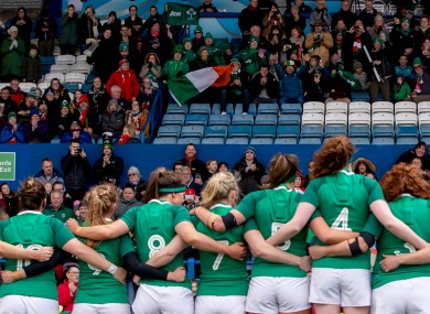 Ireland stand for the anthems in their Six Nations match against Wales this year.
