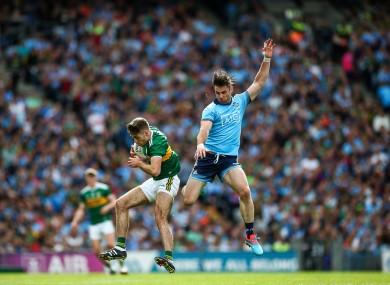 Kerry's Adrian Spillane and Dublin's Michael Darragh MacAuley.