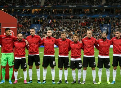 Albania's players pictured during the playing of the national anthems.