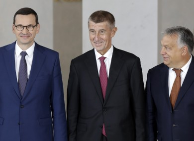 Prime Ministers of Poland Mateusz Morawiecki, Czech Republic Andrej Babis, and Hungary Viktor Orban at the summit.
