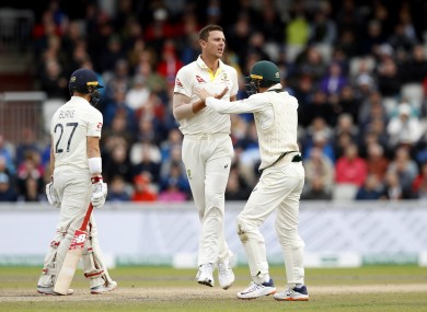 Josh Hazlewood celebrates takiing the wicket of England's Rory Burns during day three of the fourth Ashes Test.