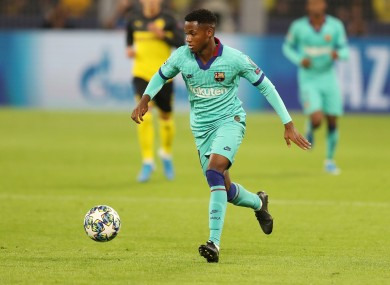 Fati made his Champions League debut for Barca during the week.