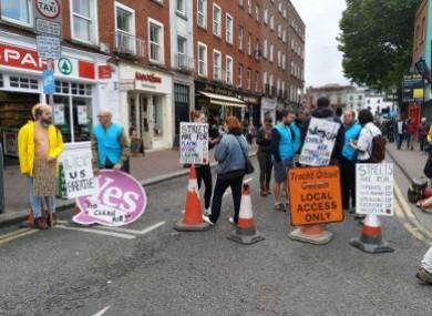 Activists block off Lower Liffey Street on Saturday afternoon.