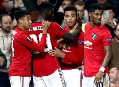 Manchester United's Mason Greenwood (third left) celebrates scoring.
