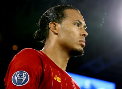 Virgil van Dijk ahead of kick-off between Napoli and Liverpool in the Champions League last night.