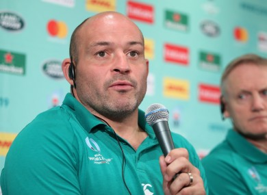 Ireland's captain Rory Best and head coach Joe Schmidt at a press conference in Japan.