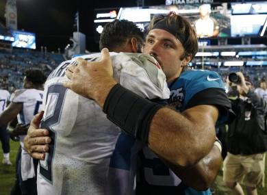 Jacksonville Jaguars quarterback Gardner Minshew greet each other after last night's game.