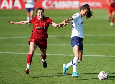 Liverpool's Niamh Fahey was shown a straight red card for a foul on Rosella Ayane of Tottenham Hotspur.