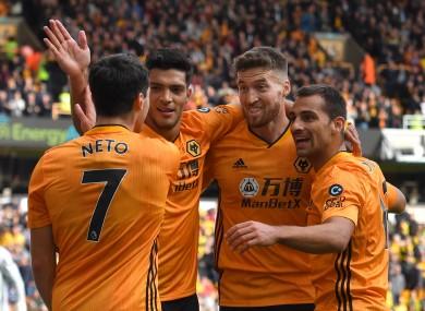 Wolverhampton Wanderers' Matt Doherty (second right) celebrates scoring.