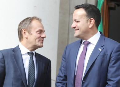 Varadkar and Tusk at Government Buildings.