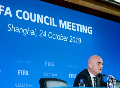 Gianni Infantino, the current president of FIFA, at the FIFA Council Meeting.