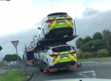 New Revenue customs cars arriving in Dundalk today.