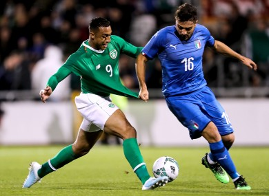 Ireland's Adam Idah with Riccardo Marchizza of Italy.