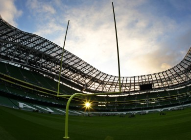 American football posts at the Aviva Stadium.