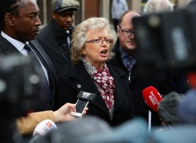 Julie Hambleton (centre) speaks to the media outside the Civil Justice Centre in Birmingham after the conclusion of the Birmingham Inquests into the pub bombings.