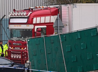 The container lorry where 39 people were found dead inside leaves Waterglade Industrial Park in Grays, Essex.