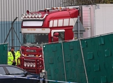 The container lorry where 39 people were found dead in Essex.