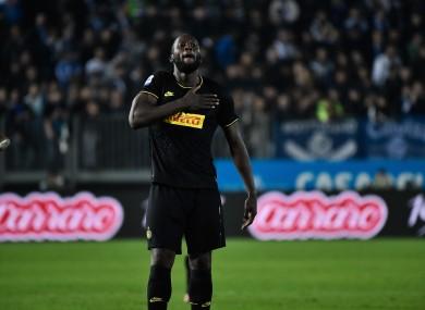 Romelu Lukaku celebrates his goal.
