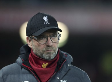 Jurgen Klopp watched his side beat Arsenal on penalties on Wednesday night.