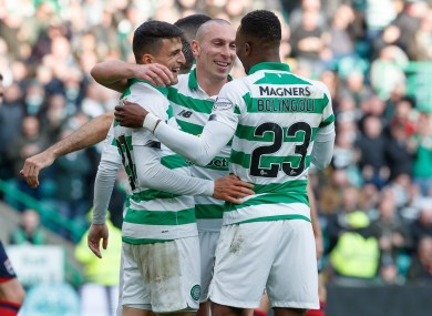Celtic's Mohamed Elyounoussi celebrates scoring his side's sixth goal.