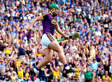Wexford's Conor McDonald celebrates scoring a goal against Tipperary in the All-Ireland semi-final.