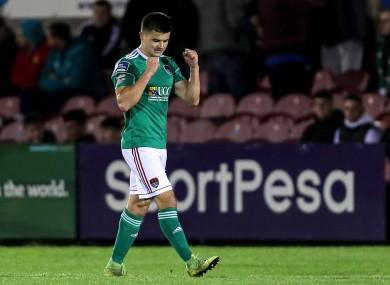Cork City's Daire O'Connor celebrates scoring a goal.