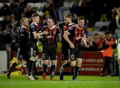 Bohs players celebrate the only goal of the game that secured their win.