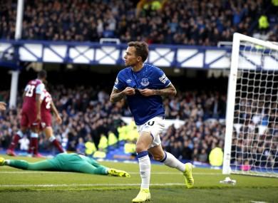 Bernard celebrates scoring.