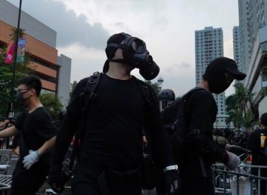 Protestors wearing masks on the streets of Hong Kong.