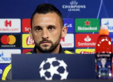 Marcelo Brozovic at the press conference ahead of his side's Champions League group game against Borussia Dortmund.
