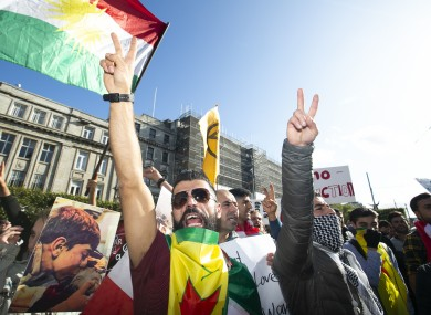 The Kurdish Community in Ireland and their supporters protest on Dublin's O'Connell Street