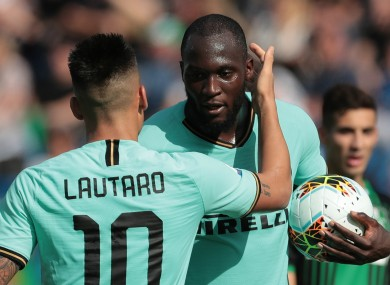 Inter forwards Lautaro Martinez and Romelu Lukaku.