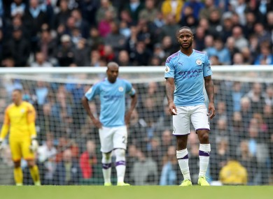 Raheem Sterling looks dejected during today's game.