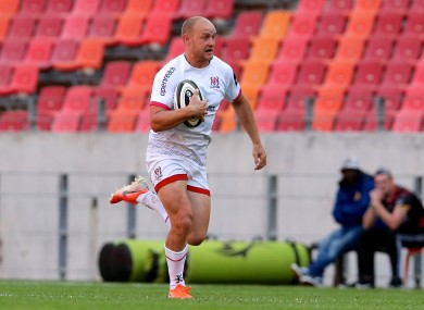 Faddes runs in a try for Ulster.