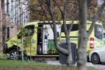 A damaged ambulance is seen parked after an incident in the centre of Oslo,