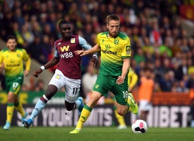 Nakamba closing down Norwich City's Marco Stiepermann on Saturday.