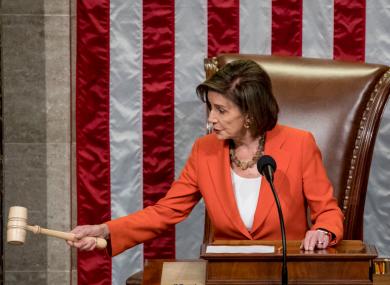 House Speaker Nancy Pelosi during today's vote.