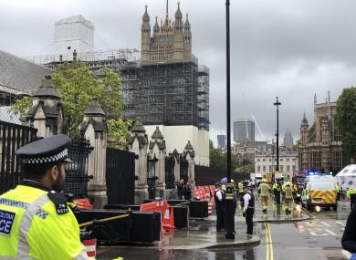 Police near the scene in Westminster