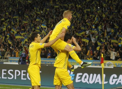 Ukraine players celebrate in Kiev.