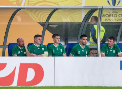 Rory Best, Tadhg Furlong, Jonathan Sexton, Conor Murray and Peter O'Mahony look on from the bench.