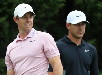 Rory McIlroy and Brooks Koepka (file pic).