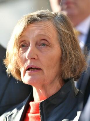 Geraldine Finucane speaking to reporters outside the Supreme Court in London in February.